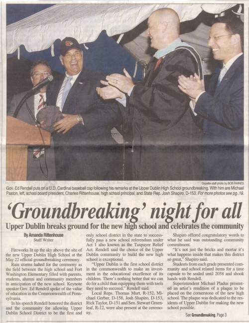 Ground Breaking- UDHS - Ambler Gazette - 5/28/08 - Page 1