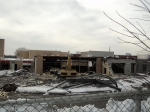 2/4: They have started tearing down the 'newer' part of the old school. Here is the shop and the cafeteria. I will try